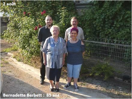 2 aout: Mme Bernadette Berbett, 85 ans